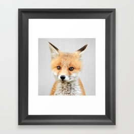 Baby Fox - Colorful Framed Art Print