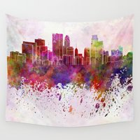 minneapolis Wall Tapestries featuring Minneapolis skyline in watercolor background by Paulrommer