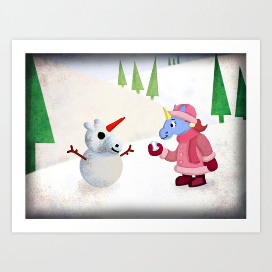 Snow Unicorn V02 Art Print