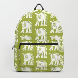 Mid Century Horse Pattern Chartreuse Backpack