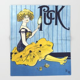 Vintage poster - Puck Throw Blanket