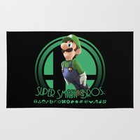 super smash bros Area & Throw Rugs featuring Luigi - Super Smash Bros. by Donkey Inferno