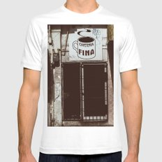 Café Fino MEDIUM White Mens Fitted Tee