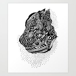 Hong Kong Dim Sum Wonton Doodle in BW Art Print