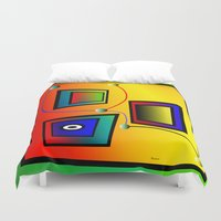 frames Duvet Covers featuring Mysterious frames I by Horacio Moschini