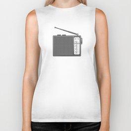 Vintage portable radio in design fashion modern monochrome style illustration Biker Tank