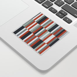 Orange, Navy Blue, Gray / Grey Stripes, Abstract Nautical Maritime Design by Sticker