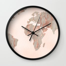 Rosegold Marble Map of the World Wall Clock
