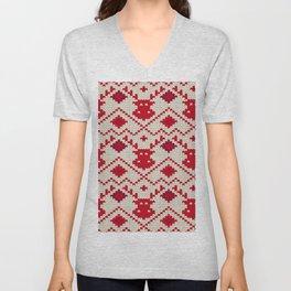 Knitting texture Christmas deer Unisex V-Neck