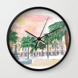 Barcelona Placa Reial in the Sun Wall Clock