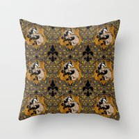 hufflepuff Throw Pillows featuring Hufflepuff by Cryptovolans