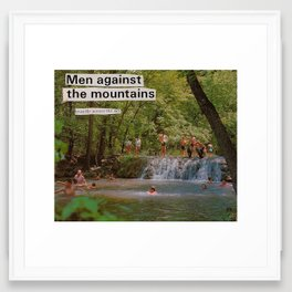 men against the mountains Framed Art Print