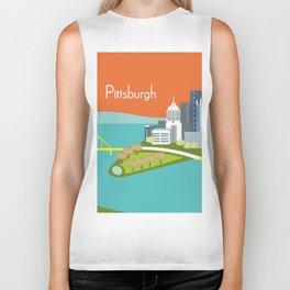 Pittsburgh, Pennsylvania - Skyline Illustration by Loose Petals Biker Tank