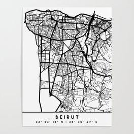 BEIRUT LEBANON BLACK CITY STREET MAP ART Poster