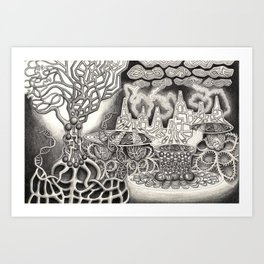 BioTechnological DNA Tree and Abstract Cityscape Art Print