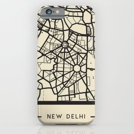 Abstract City Map - New Delhi, India iPhone Case