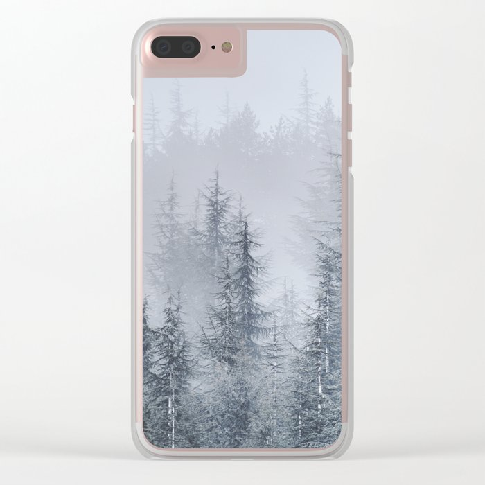 Early moorning... Into the foggy woods Clear iPhone Case