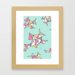 Geometric Design, Teal and Pink Triangles Framed Art Print