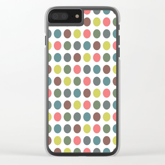 Retro Polka Dots Clear iPhone Case