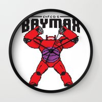 8bit Wall Clocks featuring BAYMAX (8BIT) by Akiwa