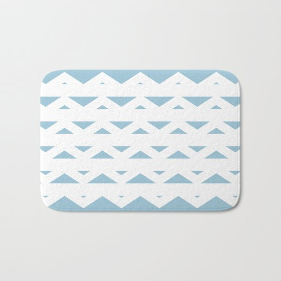 Triangle Chevron Aquamarine Bath Mat