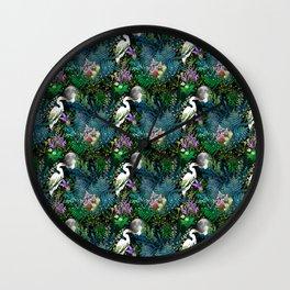 Egret In A Bog Garden Under A Full Moon Wall Clock