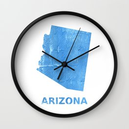 Arizona map outline Blue Jeans watercolor Wall Clock