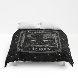 "Tarot ""The Moon"" - silver- cat version Comforters"