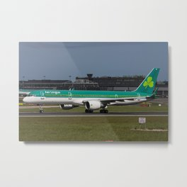 Aer Lingus Boeing 757 EI-LBT departing on the inaugural dublin to toronto flight Metal Print