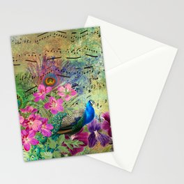 Elegant Peacock Image and Musical Notes Stationery Cards