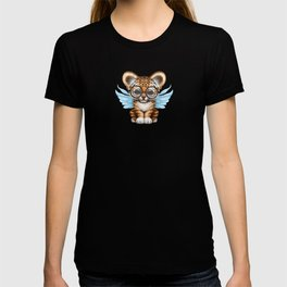Tiger Cub with Fairy Wings Wearing Glasses on Blue T-shirt