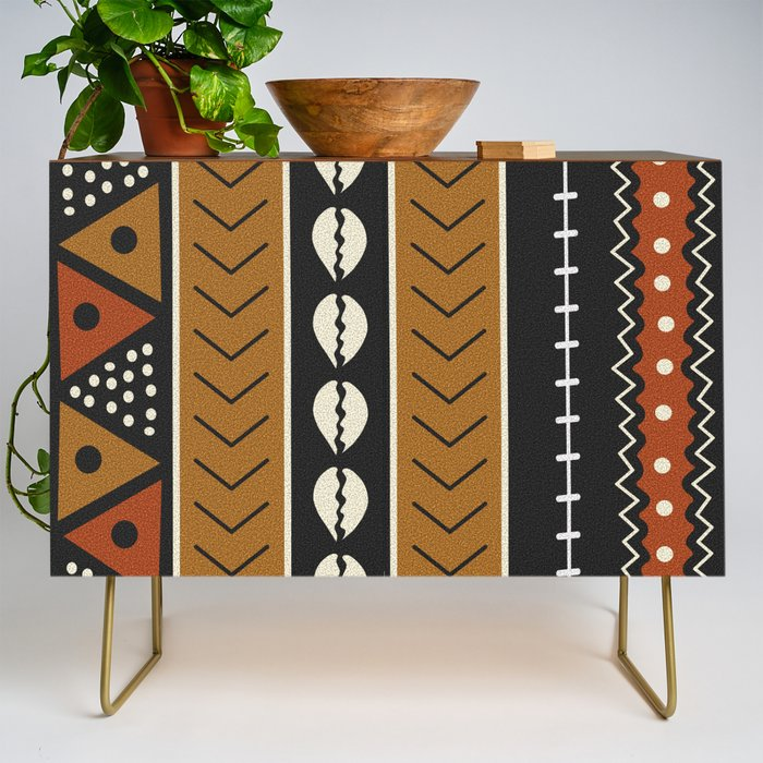 Lets_play_mudcloth_Credenza_by_dayone__Gold__Walnut