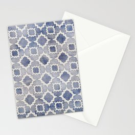 Worn & Faded Navy Denim Moroccan Pattern in grey blue & white Stationery Cards