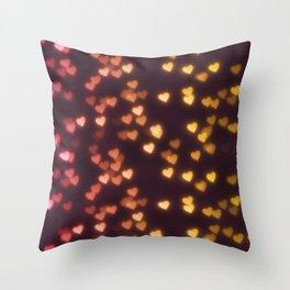 Hearts Bokeh Pattern Throw Pillow