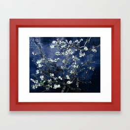 Vincent Van Gogh Almond Blossoms Dark Blue Framed Art Print