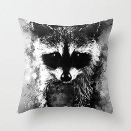 raccoon watercolor splatters black white Throw Pillow