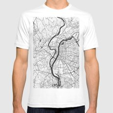 Lyon Map Gray White Mens Fitted Tee MEDIUM