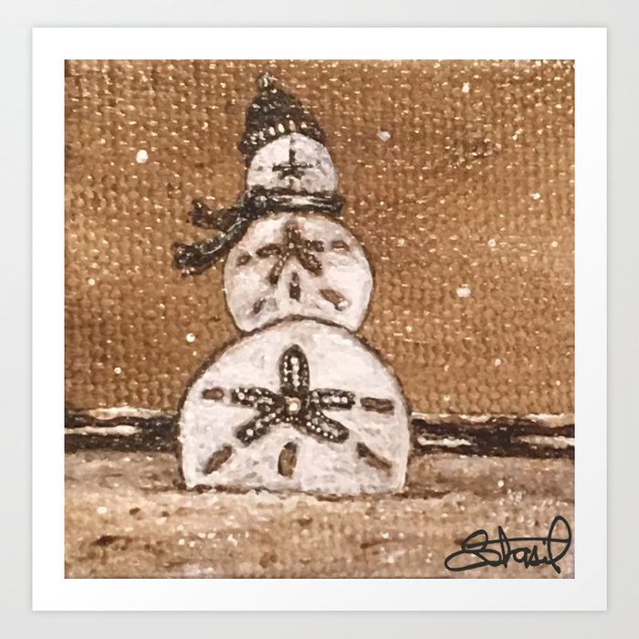 Sand Dollar Snowman Art Print By Clementoms Society6