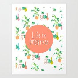 Life in Progress - Cute Plant pattern Art Print