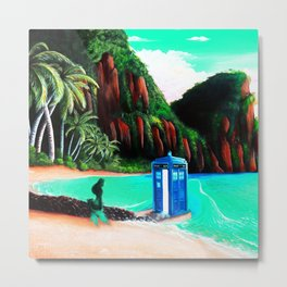 Tardis With Beauty Mermaid Metal Print