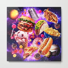Junk Food Sparkly in Ggalaxy Space Cosmos for Hungry Traveler Burger Taco Sweets Pizza Metal Print
