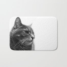 Always a Cat- Black and white photo of a cat Bath Mat