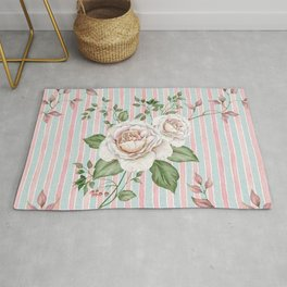 Pastel pink and blue watercolor striped pattern with roses and foliage Rug