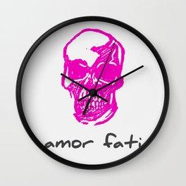 Amor Fati: Pink Skull Wall Clock