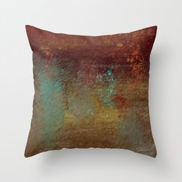 Copper, Gold, and Turquoise Textures Throw Pillow