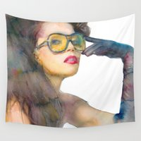 fierce Wall Tapestries featuring Fierce by Lil'h