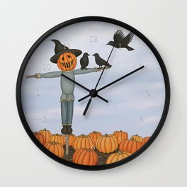 scarecrow and crows in the pumpkin patch Wall Clock