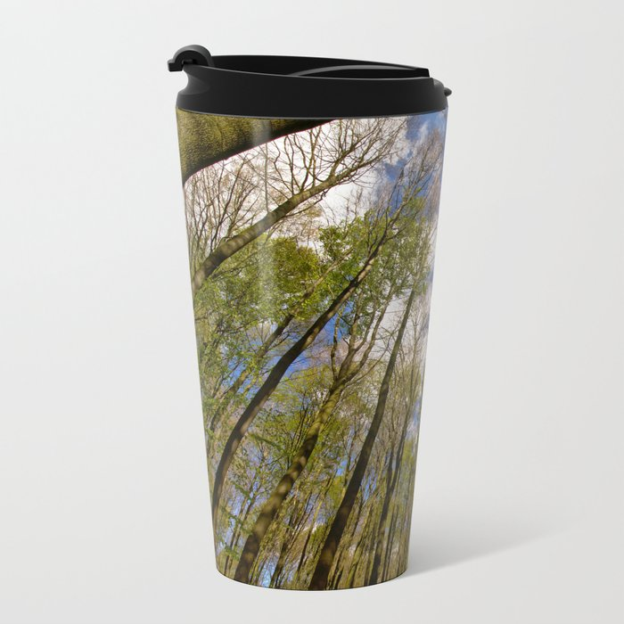 looking up to the trees in the forest Metal Travel Mug