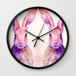 Watercolor Abstract Rabbit Hare blue purple Wall Clock