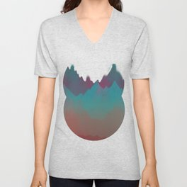 Ombre Mountainscape (Sunset Colors) Unisex V-Neck